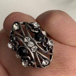 Silver cocktail ring adjustable rhinestone bead